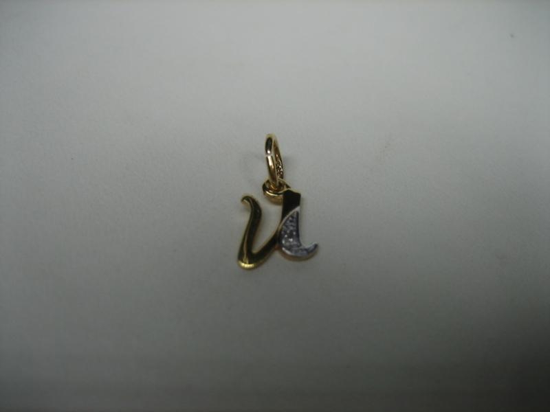 Goud 14krt. letter hangertje met 1 briljantje in witgoud gezet