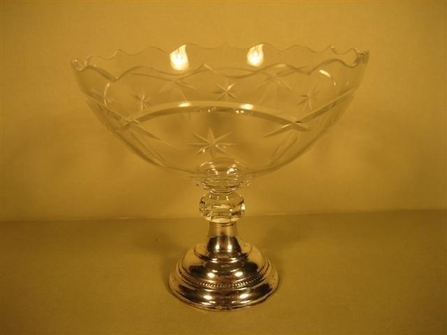 Antieke Bonbonschaaltje kristal met Zilveren ondervoed ca.1930