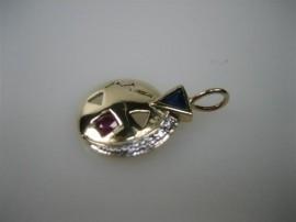 Gouden 14 krt. moderne hanger met briljhanten en edelstenen