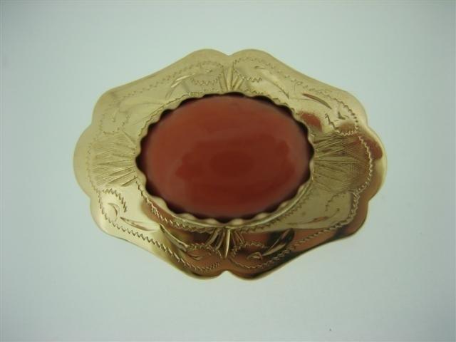 Antieke Gouden 14 krt. Ovalen Broche met Bloedkoraal ca.1890