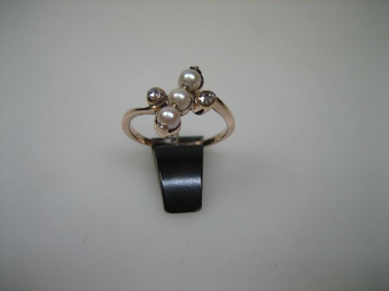 Antieke Rosé 14 krt. Gouden Diamant-Parel Ring ca. 1922