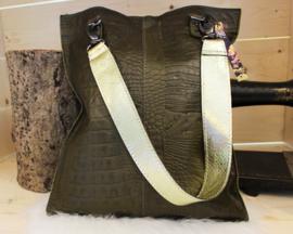 Shopaholic M dark green - Kroko