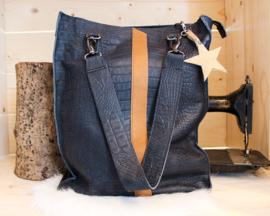Shopaholic L blue - Kroko