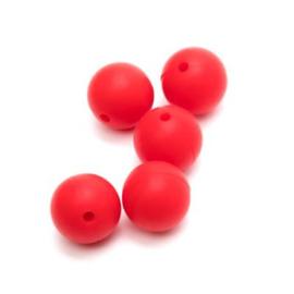 Siliconen kraal 12 mm Rood (per stuk).