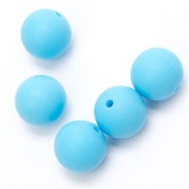 Siliconen kraal 12 mm  Licht Blauw (per stuk).