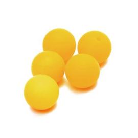 Siliconen kraal 12 mm Geel (per stuk).