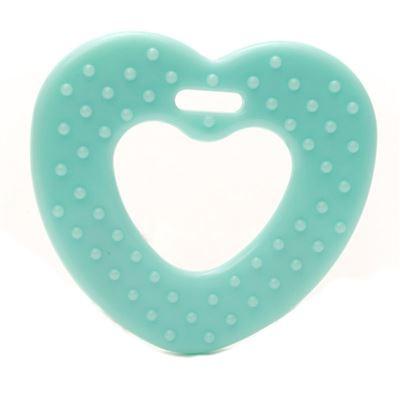 Plastic bijtring Hart Mint