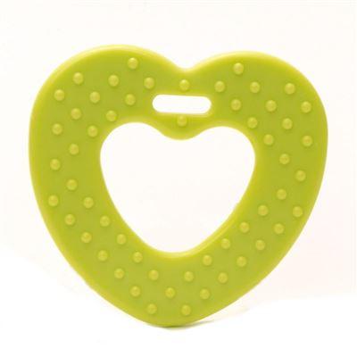 Plastic bijtring Hart Groen
