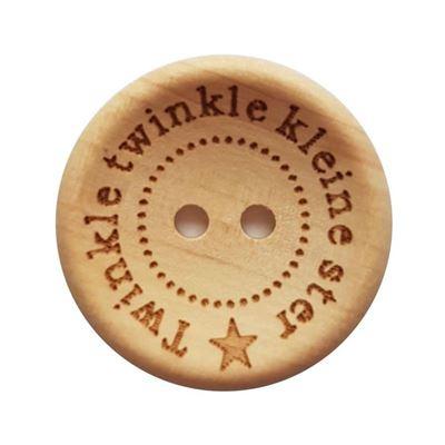 Houten Knoop *Twinkel twinkel kleine ster* 20 mm.