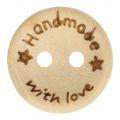 Houten Knoop *Handmade with Love* 15 mm.