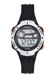 Tekday 653277 digitaal horloge 34 mm 100 meter zwart/ zilverkleur