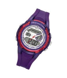Tekday 654013 analoog/ digitaal horloge 40 mm 100 meter paars/ fuchsia