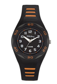 Tekday 653491 analoog horloge 34 mm 100 meter zwart/ oranje