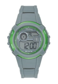 Tekday 654691 digitaal horloge 38 mm 100 meter grijs/ groen