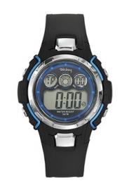 Tekday 653836 digitaal horloge 39 mm 50 meter zwart/ blauw