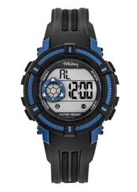 Tekday 654017 digitaal horloge 38 mm 100 meter zwart/ blauw