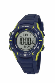 Nowley 8-6258-0-4 digitaal horloge 40 mm 100 meter blauw/ geel