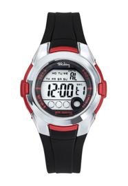 Tekday 654734 digitaal horloge 38 mm 100 meter zwart/ rood
