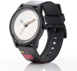Q&Q RP00J020Y Smile Solar horloge 40 mm 50 meter zwart met appels