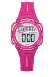 Tekday 653998 digitaal horloge 33 mm 100 meter lila/ roze