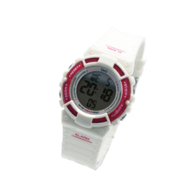 Q&Q M138J002 digitaal horloge 36 mm 100 meter wit/ roze