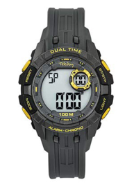 Tekday 653262 digitaal horloge 40 mm 100 meter grijs/ geel
