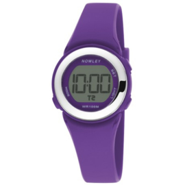 Nowley 8-6278-0-4 digitaal horloge 29 mm 100 meter paars/ zilverkleur