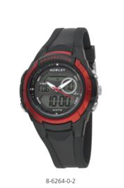 Nowley 8-6264-0-2 analoog/ digitaal horloge 40 mm 100 meter zwart/ rood