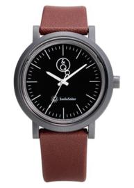 Q&Q 651025 Smile Solar horloge 40 mm 100 meter bruin/ zwart