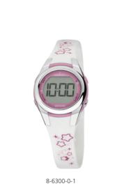 Nowley 8-6300-0-1 digitaal horloge 28 mm 100 meter wit/ roze