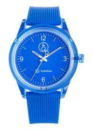 Q&Q 651019 Smile Solar horloge 40 mm 100 meter blauw