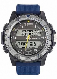 All Blacks 680325 analoog/ digitaal horloge 48 mm 100 meter blauw/ grijs
