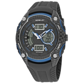 Nowley 8-6200-0-2 analoog/ digitaal horloge 46 mm 100 meter zwart/ blauw