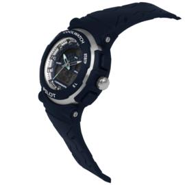 Coolwatch CW.272 analoog/ digitaal horloge 36 mm 50 meter blauw/ zilverkleur