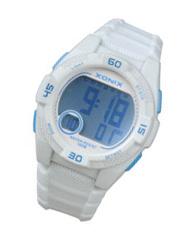 Xonix KQ-001 digitaal horloge 40 mm 100 meter wit/ blauw