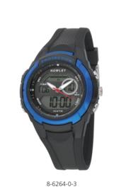 Nowley 8-6264-0-3 analoog/ digitaal horloge 40 mm 100 meter zwart/ blauw