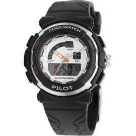 Coolwatch CW.270 analoog/ digitaal horloge 36 mm 50 meter zwart/ wit