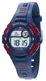 Marea B25133/1 digitaal horloge 34 mm 100 meter blauw/ rood