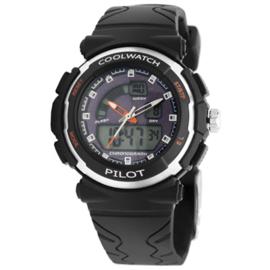 Coolwatch CW.271 analoog/ digitaal horloge 36 mm 50 meter zwart