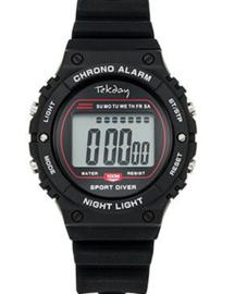 Tekday 654659 digitaal horloge 39 mm 100 meter zwart/ rood