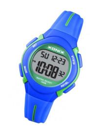 Xonix EN-005 digitaal horloge 32 mm 100 meter blauw/ groen