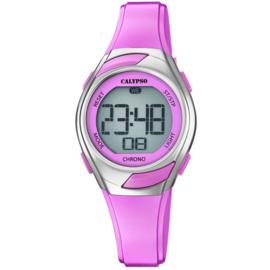 Calypso K5738/2 digitaal horloge 30 mm 100 meter roze/ zilverkleur