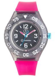 Q&Q 651029 Smile Solar horloge 43 mm 200 meter fuchsia/ zwart
