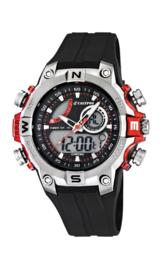 Calypso K5586/1 analoog/ digitaal horloge 46 mm 100 meter zwart/ rood