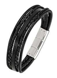 All Blacks 682149 zwart gevlochten leren armband 21 cm