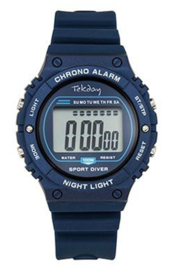Tekday 654658 digitaal horloge 39 mm 100 meter blauw