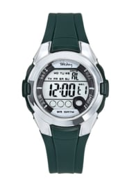 Tekday 654735 digitaal horloge 38 mm 100 meter groen/ zilverkleurig