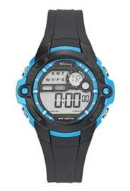 Tekday 653842 digitaal horloge 38 mm 100 meter zwart/ blauw