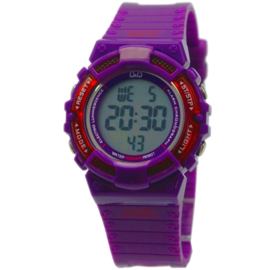 Q&Q M138J004 digitaal horloge 36 mm 100 meter paars