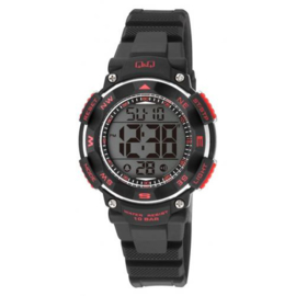Q&Q M149J001 digitaal horloge 36 mm 100 meter zwart/ rood